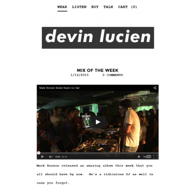 New Devin Lucien Site and #tbt Mark Ronson Mixes